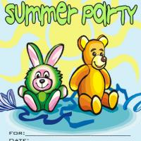 Printable Bear and Bunny Summer Party Invitation - Printable Party Invitation Cards - Free Printable Invitations