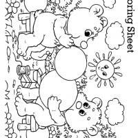 Bear Blowing Balloons Coloring Sheets