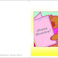 Printable Bear Reading Birthday Card - Printable Birthday Cards - Free Printable Cards
