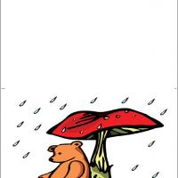 Printable Bear Under An Umbrella - Printable Get Well Cards - Free Printable Cards