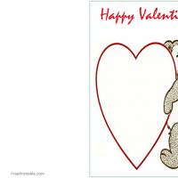 Printable Bear with Big Heart - Printable Valentines - Free Printable Cards