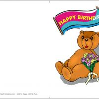 Printable Bear With Bouquet - Printable Birthday Cards - Free Printable Cards