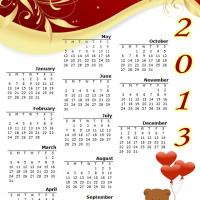 Printable Bear with Heart Balloons 2013 Calendar - Printable Yearly Calendar - Free Printable Calendars