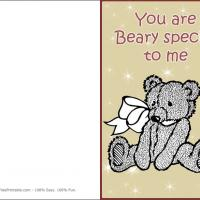 Printable Bear With Heart - Printable Valentines - Free Printable Cards