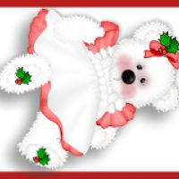Printable Bear with Holly Ribbon - Printable Bookmarks - Free Printable Crafts