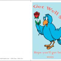 Bear With Rose Get Well Card