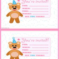 Printable Beary Cute Pink Birthday Party Invitation - Printable Party Invitation Cards - Free Printable Invitations