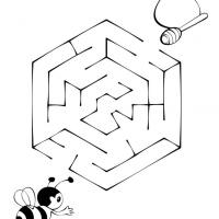 Printable Bee Finding Honey - Printable Mazes - Free Printable Games