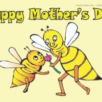 Printable Bees Love And Hugs Postcard - Printable Mothers Day Cards - Free Printable Cards