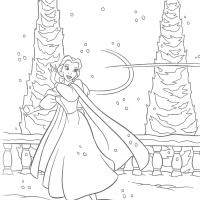 Printable Belle Dancing in the Snow - Printable Disney - Free Printable Coloring Pages