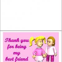 Printable Bestfriend Hug - Printable Thank You Cards - Free Printable Cards