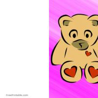 Printable Big Teddy Bear On Pink Background - Printable Valentines - Free Printable Cards