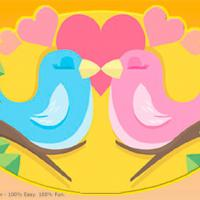 Birds For Valentine Postcards