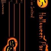 Black &amp; Orange Themed Halloween Party Invitation