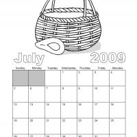 Printable Black And White Basket July 2009 Calendar - Printable Monthly Calendars - Free Printable Calendars