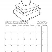 Printable Black And White Books September 2009 Calendar - Printable Monthly Calendars - Free Printable Calendars
