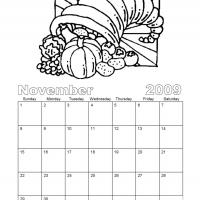 Printable Black And White Cornucopia November 2009 Calendar - Printable Monthly Calendars - Free Printable Calendars