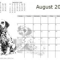 Printable Black And White Dalmatians August 2009 Calendar - Printable Monthly Calendars - Free Printable Calendars