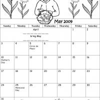 Printable Black And White Lady May 2009 Calendar - Printable Monthly Calendars - Free Printable Calendars