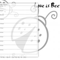 Printable Black and White Love is Beetle - Printable Daily Calendar - Free Printable Calendars