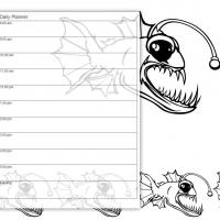 Printable Black and White Scary Fish - Printable Daily Calendar - Free Printable Calendars