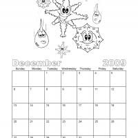 Printable Black And White Snowflakes December 2009 Calendar - Printable Monthly Calendars - Free Printable Calendars