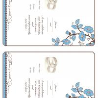 Blue and Brown Bloom Fill-in Card Invitation