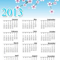 Printable Blossoms 2013 Calendar - Printable Yearly Calendar - Free Printable Calendars