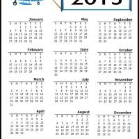 Printable Blue Airplane 2013 Calendar - Printable Yearly Calendar - Free Printable Calendars