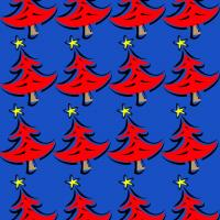 Blue and Red Christmas Tree Wrapper