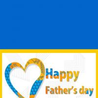 Printable Blue and Yellow Heart - Printable Fathers Day Cards - Free Printable Cards