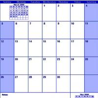 Printable Blue April 2009 Calendar - Printable Monthly Calendars - Free Printable Calendars
