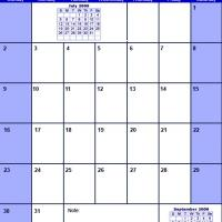 Printable Blue August 2009 Calendar - Printable Monthly Calendars - Free Printable Calendars