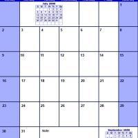 Blue August 2009 Calendar