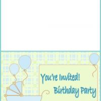 Blue Baby Pram Birthday Party Invitation