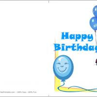 Printable Blue Balloon Birthday Card - Printable Birthday Cards - Free Printable Cards