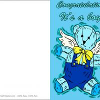 Printable Blue Bear Baby - Printable Baby Cards - Free Printable Cards