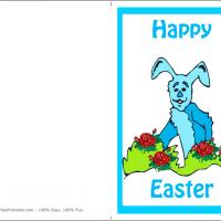 Printable Blue Bunny With Rose - Printable Easter Cards - Free Printable Cards