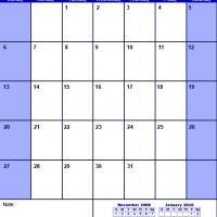 Blue December 2009 Calendar