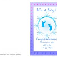 Printable Blue Footprint - Printable Baby Cards - Free Printable Cards