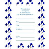 Blue Graduation Caps Invite