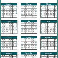 Printable Blue Green Portrait 2013 Calendar - Printable Yearly Calendar - Free Printable Calendars