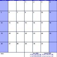 Blue July 2009 Calendar