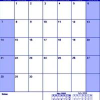 Blue June 2009 Calendar