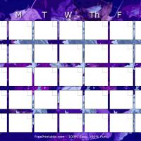 Printable Blue Leaves Blank Monthly Calendar - Printable Blank Calendars - Free Printable Calendars