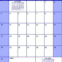 Printable Blue May 2009 Calendar - Printable Monthly Calendars - Free Printable Calendars