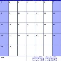 Printable Blue November 2009 Calendar - Printable Monthly Calendars - Free Printable Calendars