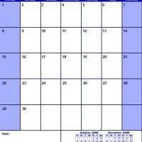 Blue November 2009 Calendar