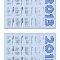 Printable Blue Stitched 2013 Mini Calendar - Printable Yearly Calendar - Free Printable Calendars