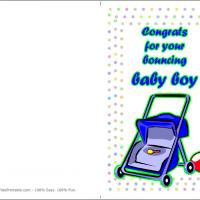 Printable Blue Trolley - Printable Baby Cards - Free Printable Cards